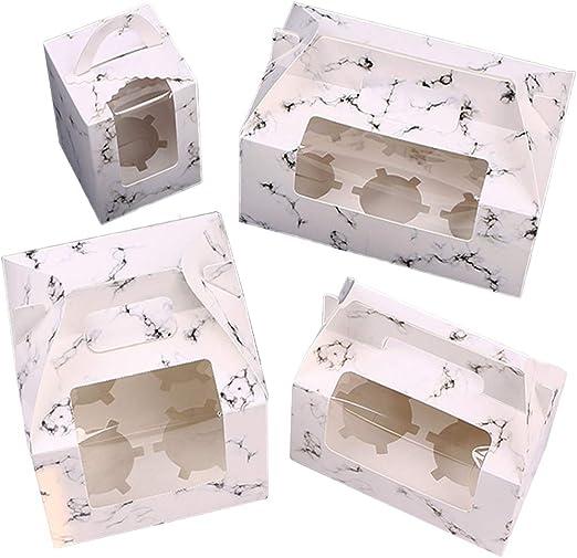 WENTS Caja de Pastel Elegante y portátil Caja para Cupcakes con Ventana Transparente para Adecuado para Bodas, Fiestas, Ceremonias, cumpleaños.: Amazon.es: Hogar
