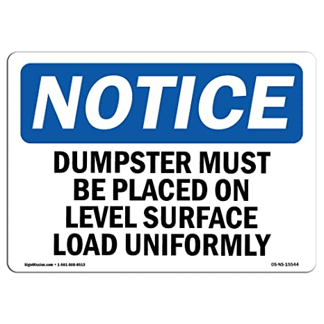 Amazon com : OSHA Notice Signs - Notice Dumpster Level