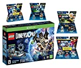 Lego Dimensions Time Traveler Starter Pack + Doctor Who Level Pack + Cyberman Fun Pack + Back To The Future Marty McFly Level Pack + Doc Brown Fun Pack for Xbox One or Xbox One S Console