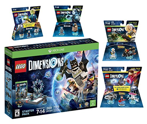 Lego Dimensions Time Traveler Starter Pack + Doctor Who Level Pack + Cyberman Fun Pack + Back To The Future Marty McFly Level Pack + Doc Brown Fun Pack for Xbox One or Xbox One S Console by WB Lego
