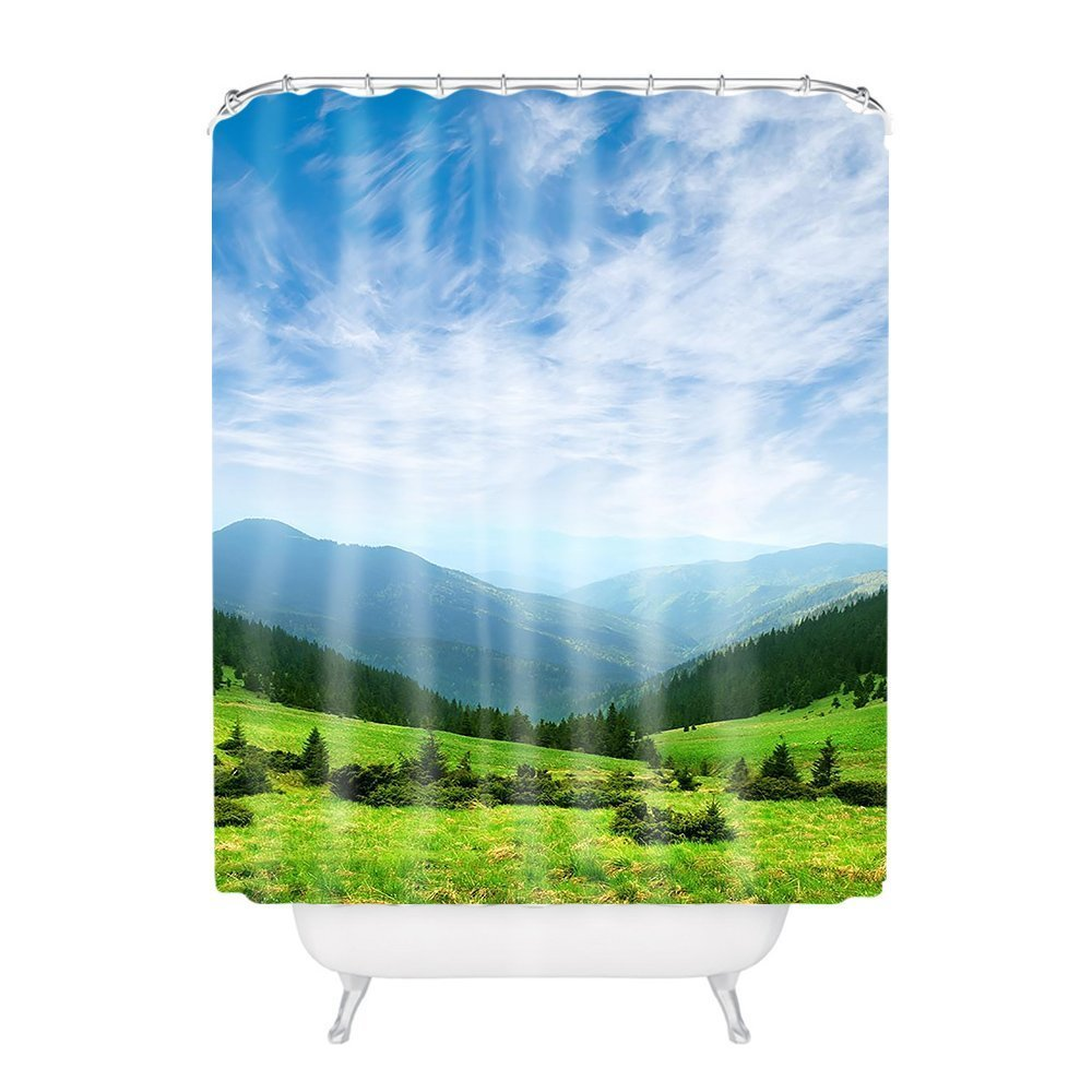 General Mountain Valley Plateau Polyester Fabric Bathroom Shower Curtain 6072Inch CozyHomein