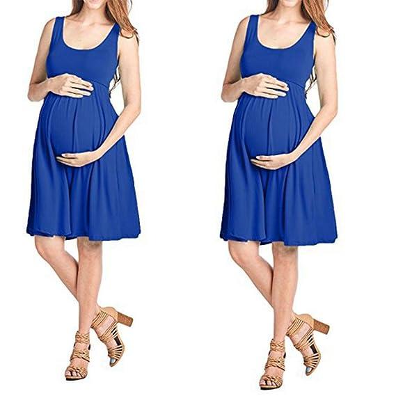 BBsmile Vestidos Mujeres de Moda Embarazadas Vestido sin Mangas con Cuello en V Maternidad sin Mangas