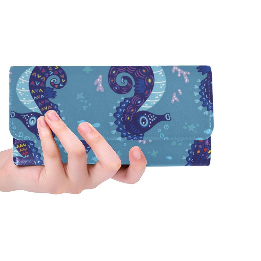 Silly Meow Seahorses Custom Women's Wallet Women's Trifold Long Clutch Wallets Great Gift