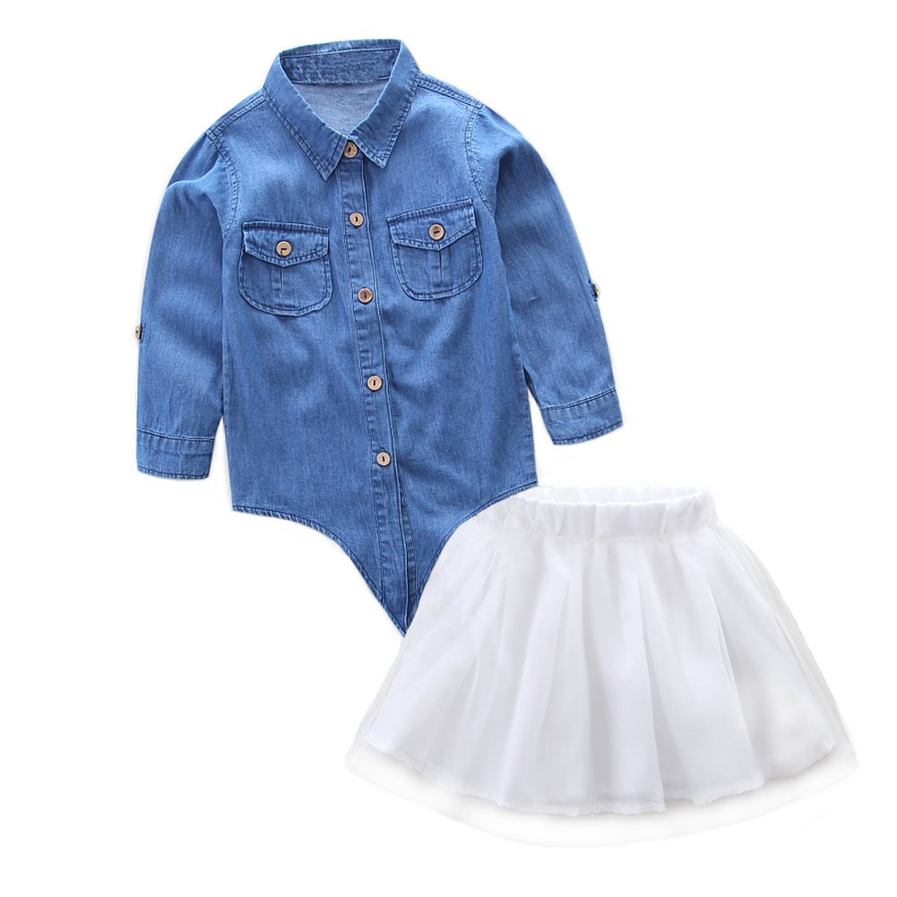 Scfcloth Family Matching Outfits Mother and Daughter Denim Shirt Tops Lace Skirt Sets