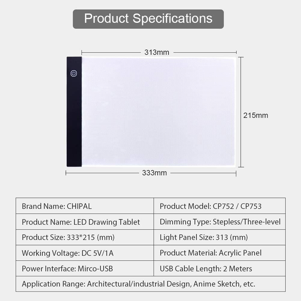 RONSHIN A4 LED Drawing Digital Tablet Art Tablet USB Writing Board Painting Copy Board Graphic Light Box Panel Stepless dimming