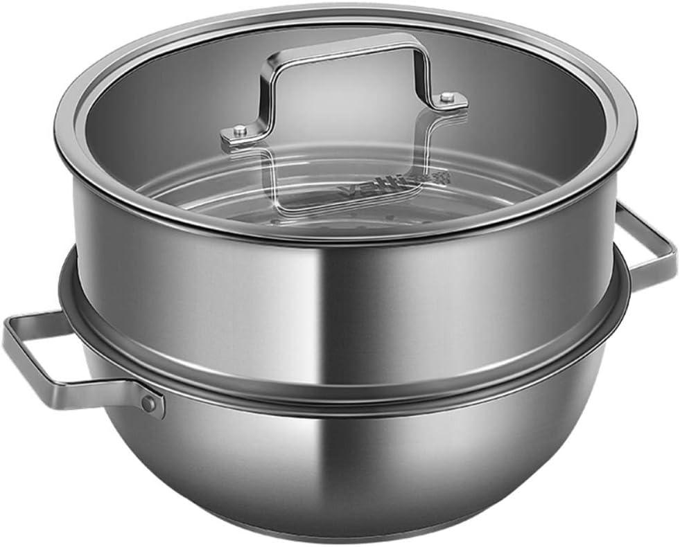 fang zhou 4 24 Vaporizadora de Sopa Doble Capa cm con Revestimiento Cuartos galón: Todas Las Estufas y Limpieza Apta para lavavajillas, Olla Acero Inoxidable Calibre Pesado, cocinar