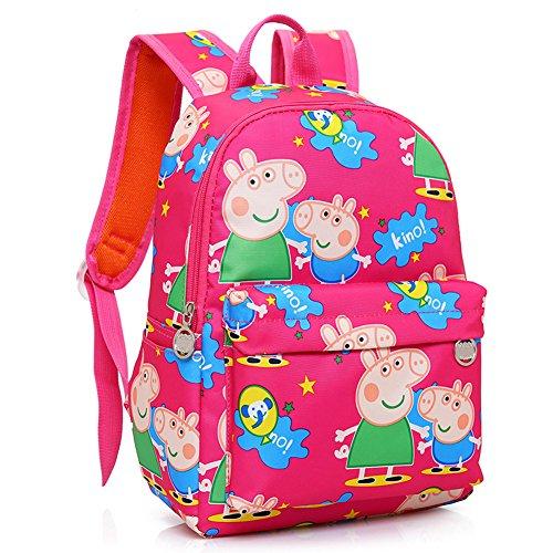 (YOURNELO Cartoon Canvas Peppa Pig Rucksack Pre-school Backpack Bookbag (Rose)