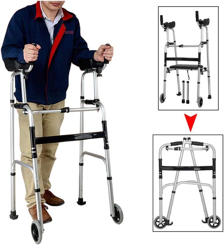 WANXJM Caminante Anciano con Asiento y Rueda, Bastidor portátil para discapacitados Plegable Ajustable en Altura, bastón de Cuatro Patas, Silla de baño