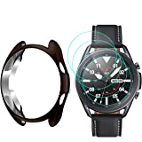 ZEBRE Case and Screen Protector Compatible with Samsung Galaxy Watch 3 41mm, [4+1] 9H Hardness Anti-Scratch Tempered Glass Sc