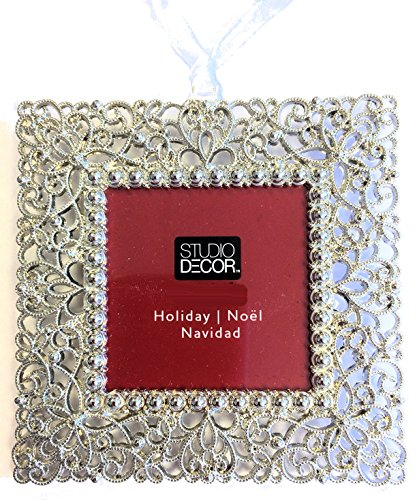Studio Decor Square Christmas Tree Ornament Photo Frame Enamel Silver Metal ()