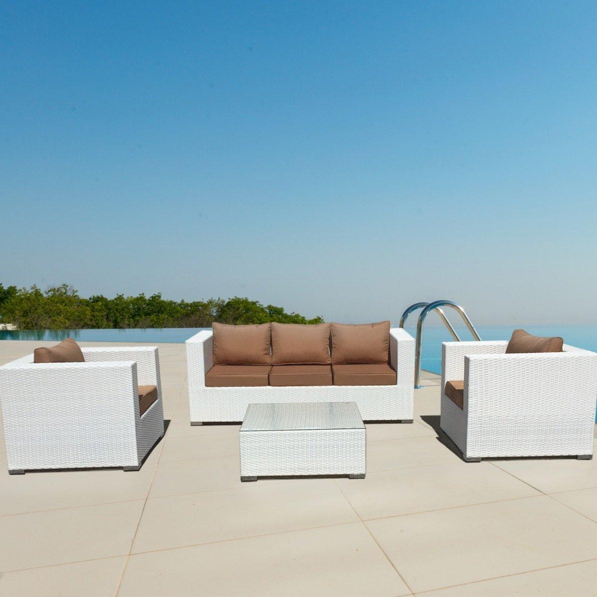 luxurygarden Wohnzimmer Rattan weiß Garten Möbel Outdoor Sofa Saturno