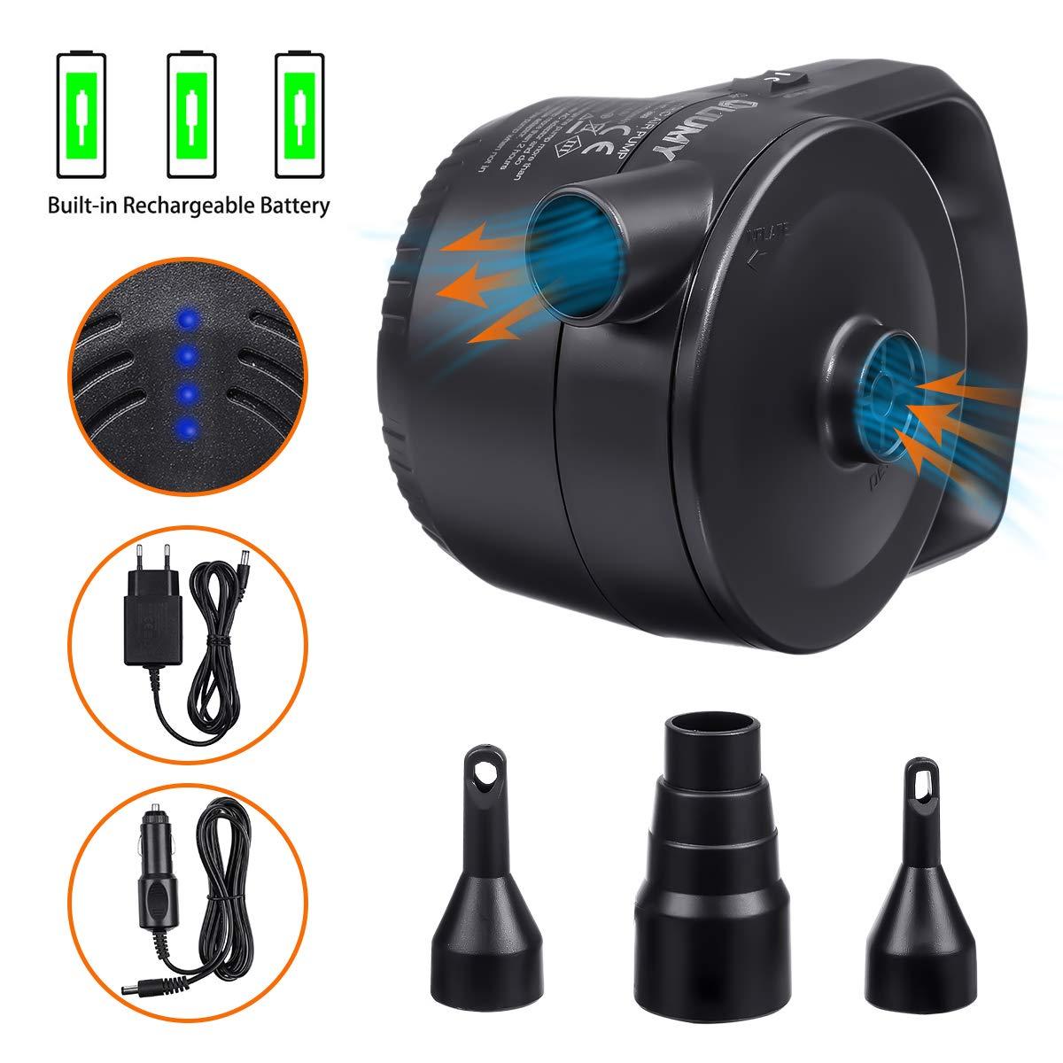 330L//MIN 3 Ventil-Aufs/ätzen f/ür Luftmatratzen Elektropumpe kann Strom speichern Zwei Lademethoden mit 220V Ladeger/ät /& 12V USB Auto-Ladekabel LIUMY 2 in 1 Akku-Elektrische Luftpumpe Schlauchboote