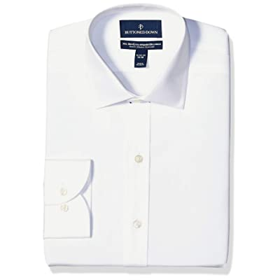 Brand - Buttoned Down Men's Xtra-Slim Fit Stretch Poplin Dress Shirt, Supima Cotton Non-Iron, Spread-Collar: Clothing