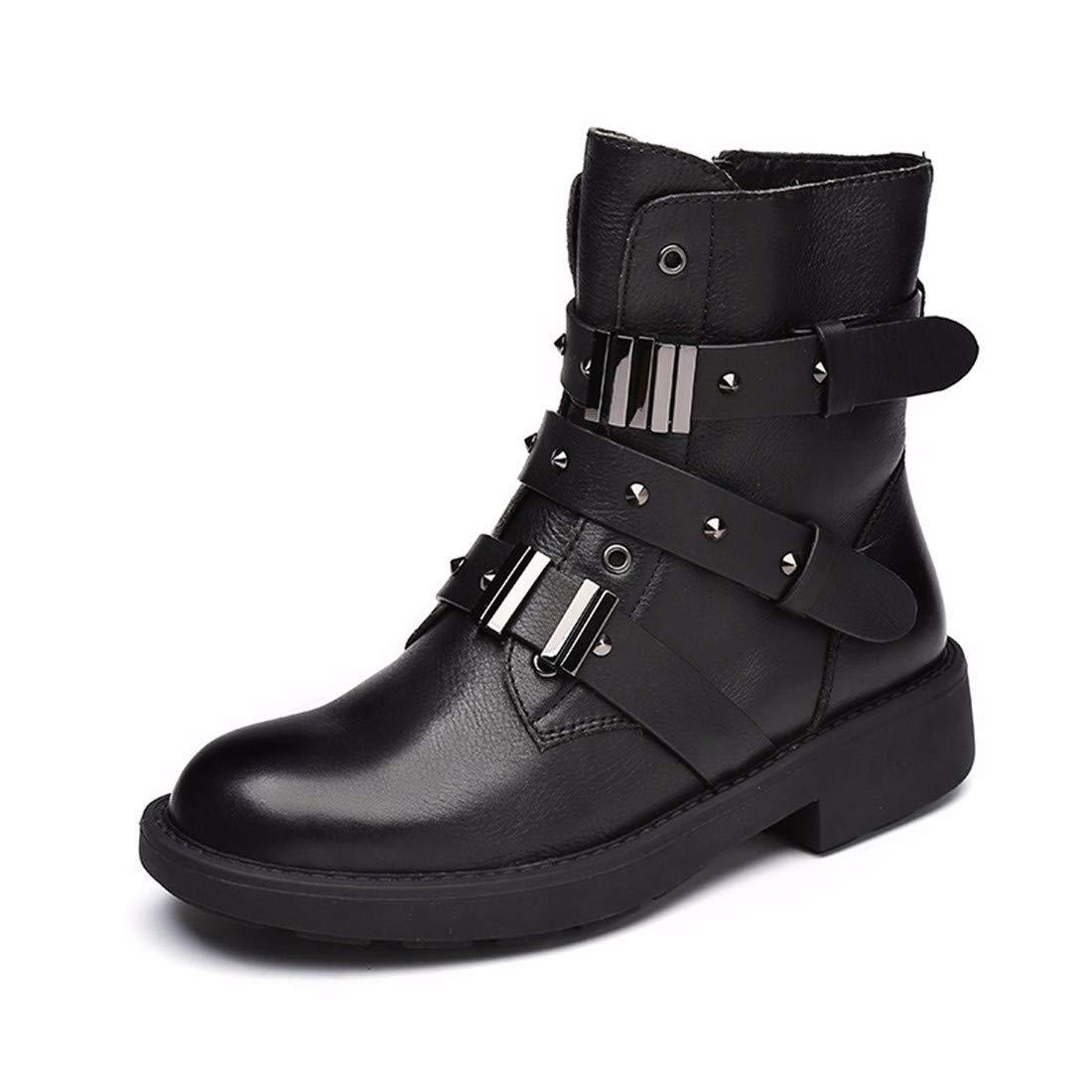 BeatinToes Damen Winter Warm Anti Slip Wasserdicht Leder Martin Stiefel Reine Farbe Fashion Casual Schuhe Stiefel