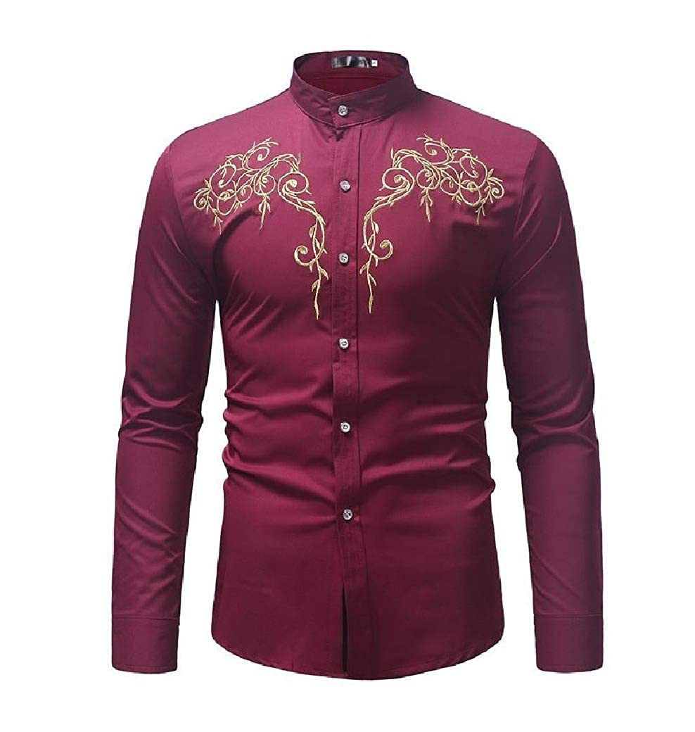 Comaba Mens Plus-Size Embroidery Relaxed Fit Single Breasted Work Shirt