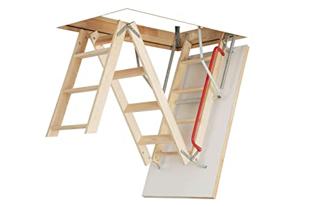 Optistep Wooden Timber Folding Loft Ladder Attic Stairs. Frame size W70cm x  L111cm H up to 280cm & Insulated Hatch
