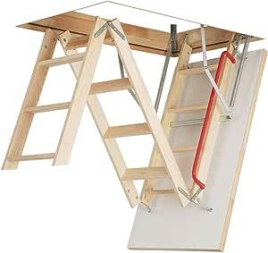 Madera de madera plegable Optistep escalera para desván ático o escaleras. Marco W70 cm x L111cm H hasta 280 cm y aislada trampilla: Amazon.es: Bricolaje y herramientas