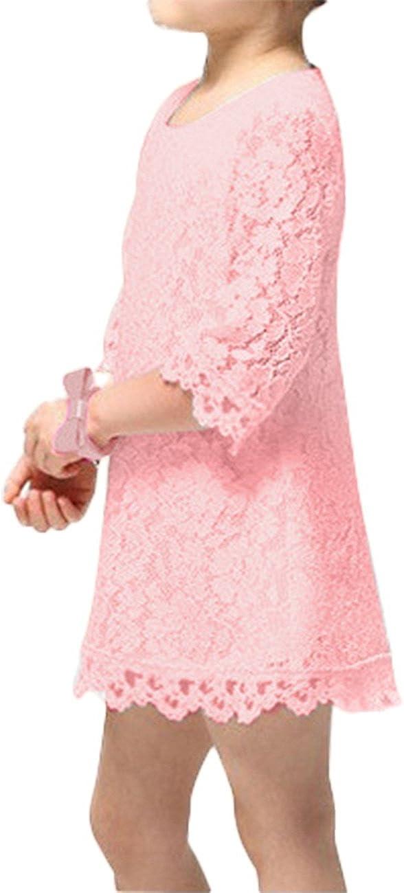 Red,120cm elegantstunning Baby Girls Round Collar Mid-sleeve Lace Princess Skirt