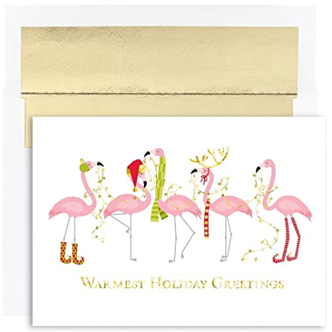 Flamingo Christmas Cards.Jam Paper Christmas Cards Matching Envelopes Set Fashion Flamingos 18 Pack