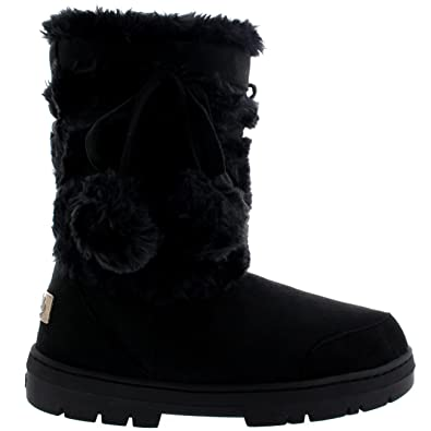 Womens Pom Pom Waterproof Winter Snow Boots - Black - 3 - 36 - AEA0158