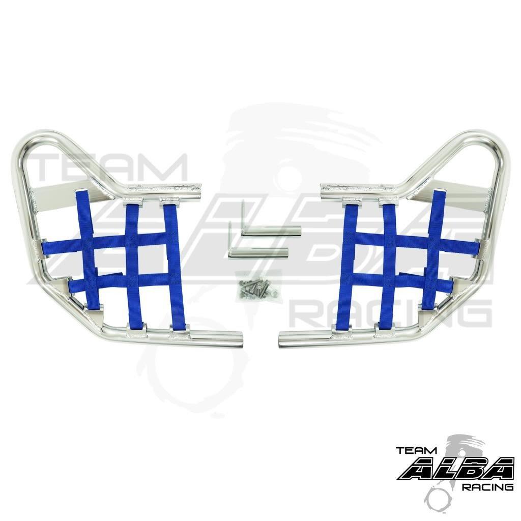 Yamaha Raptor 125, YFM 125 (2011-2013) Raptor 250 YFZ 250 (2008-2013) Standard Nerf Bars Silver w/ Blue Net
