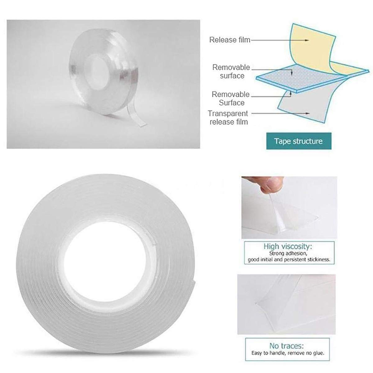 Transparent, 2mm Kitchen Cabinets and so on Reusable Traceless,Stick to Glass Traceless Washable Adhesive Tape nanoTape CornicLife 1M//3.3Ft Reusable Adhesive Silicone Tape,Free to Remove Metal