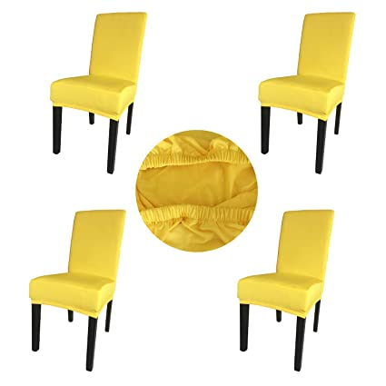Astounding Gold Fortune Spandex Fabric Stretch Removable Washable Dining Room Chair Cover Protector Seat Slipcovers Set Of 4 Bright Yellow Squirreltailoven Fun Painted Chair Ideas Images Squirreltailovenorg