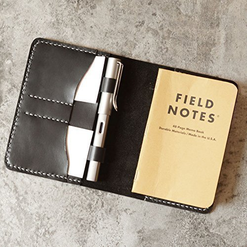 Personalized Leather Refillable Composition Notebook Cover for pocket size Field Notes, Moleskine Cahier with pen holder 3.5''x5.5'' Black by EXTRA STUDIO