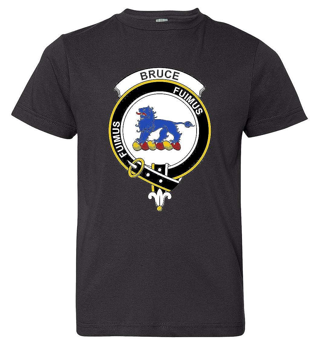 Tenacitee Boys Youth Scottish Clan Crest Badge Bruce T-Shirt Small Black