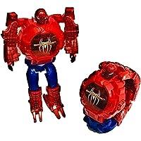 TRUVENDOR ENTERPRISES Avengers Iron Man Toy Convert to Digital Wrist Watch for Kids Deformation Watch Iron Man Figures Plus Watch ( Red ) (Spiderman)