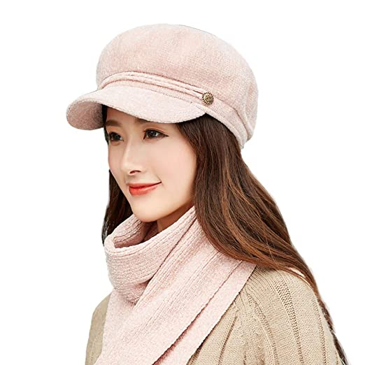 2507ebe9000e1 Pervobs Women Cute Beret Winter Warm Floral Knitted Hat Beret Baggy Beanie  Hat Slouch Ski Cap