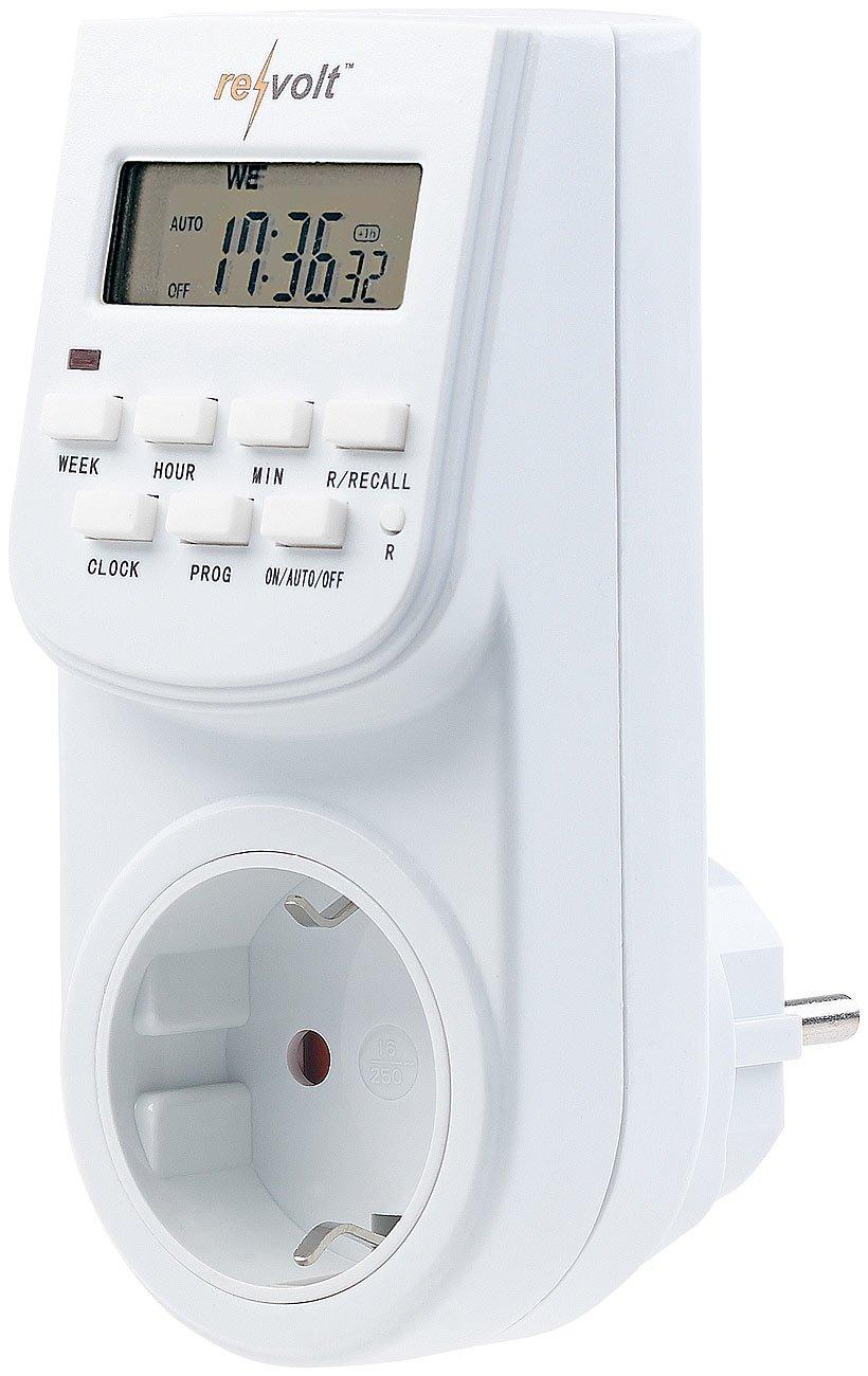 revolt Zeitschaltuhr Steckdose: Digitale Zeitschaltuhr mit LCD-Display, minutengenau, 140 Schaltzeiten (Schaltzeituhr) NC5519-944