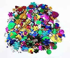 Honbay 100 Gram Mixed Sequins and Spangles Craft Supplies, Assorted Shapes, Color and Sizes