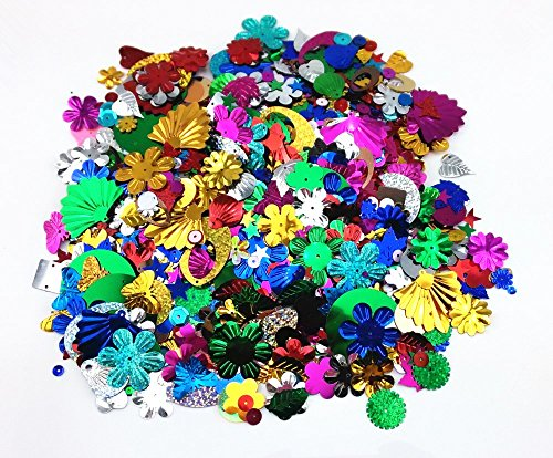 (Honbay 100 Gram Mixed Sequins and Spangles Craft Supplies, Assorted Shapes, Color and Sizes)