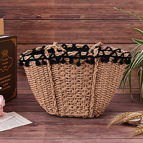Handbags for Use Travel Everyday Casual Woven Brown Bag Hand Bags Sunmmer and Womens D Vacation Peerless Tote Straw Natural Beach qa77OT