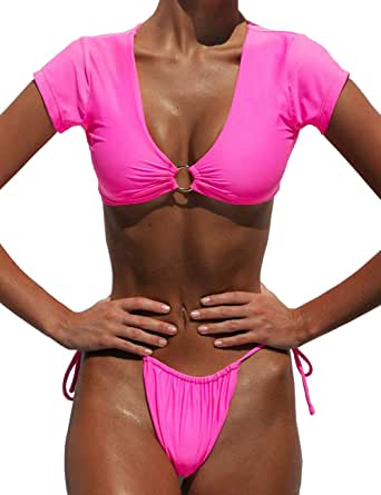 ANASABI Women's Ring Grommet Hardware V Bikini Neon Pink