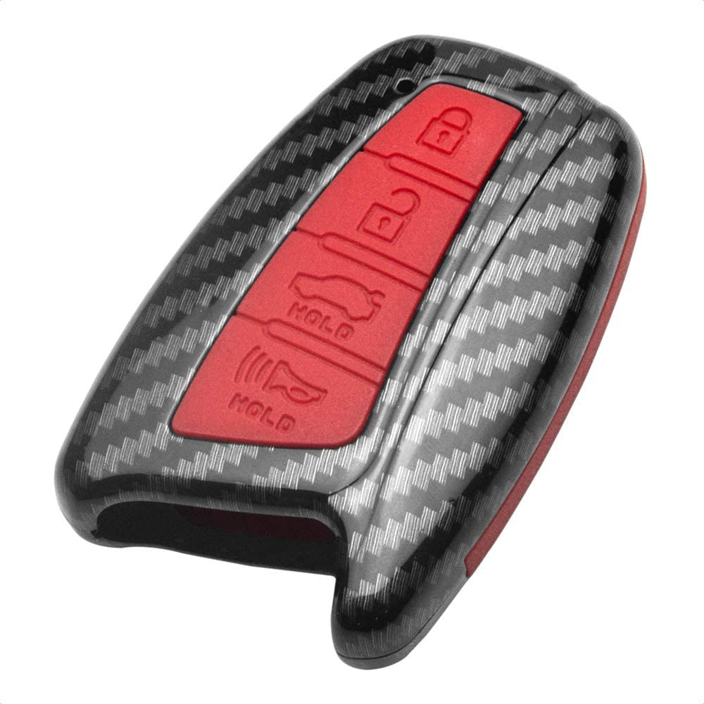 TANGSEN Smart Key Fob Personalized Case Protective Cover Black Carbon Fiber Pattern ABS Red Silicone Cover for HYUNDAI AZERA EQUUS GENESIS SANTA FE SPORT 4 Button Keyless Entry Remote