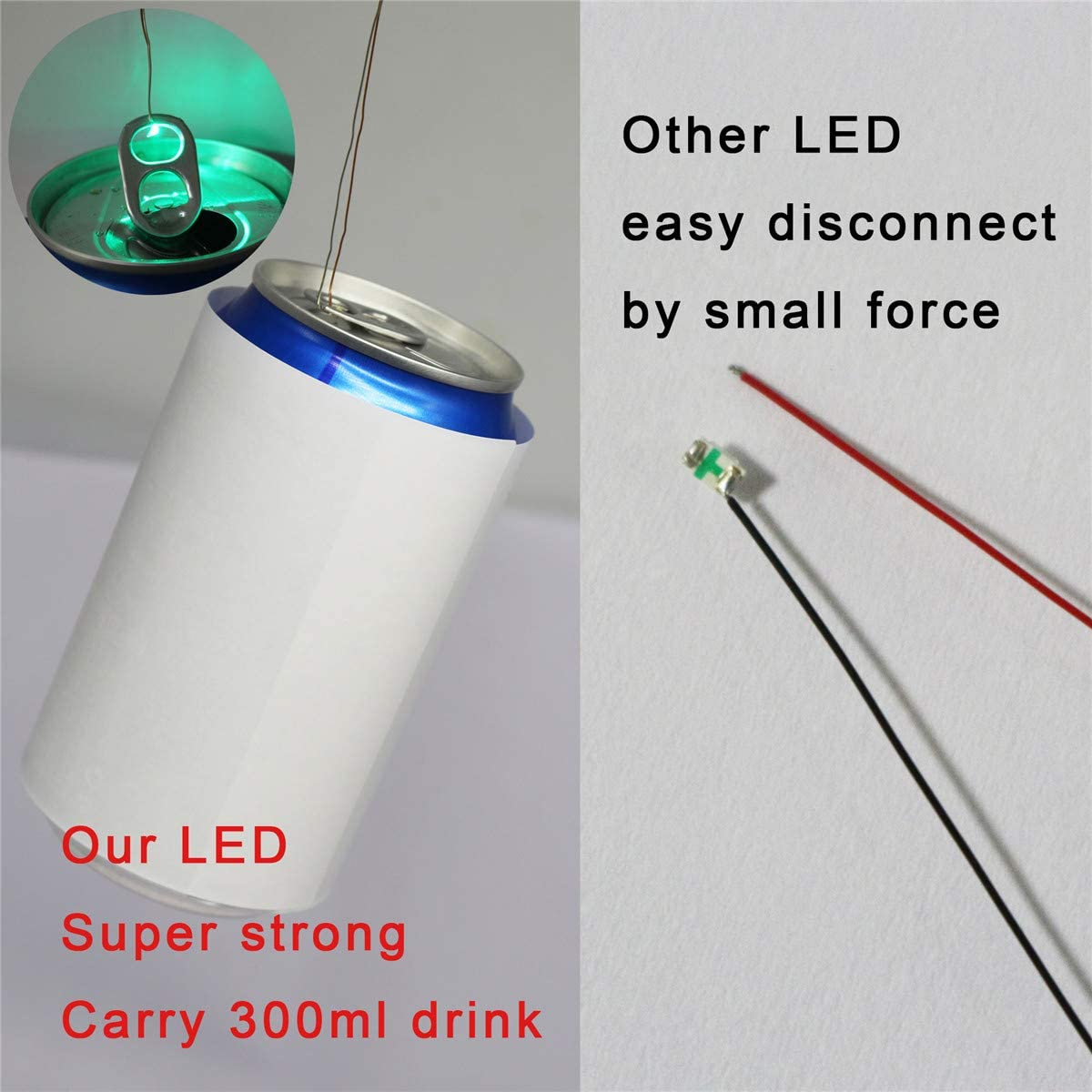 Bowerful 25 pcs Pre-soldered Rainbow RGB Flashing SMD Led 0605 Muti-Resistor Micro Litz Wired Leads