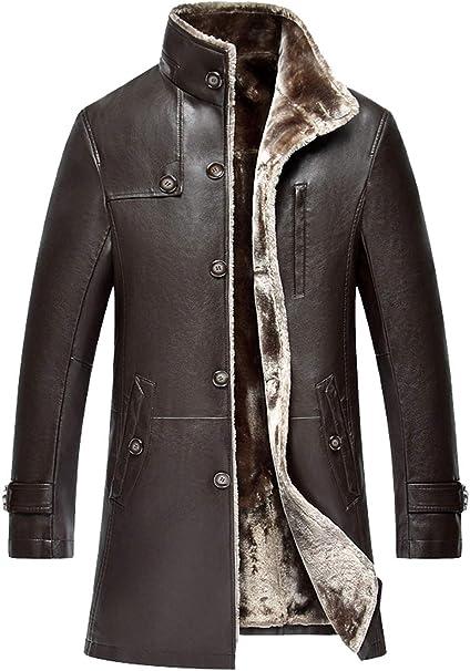 ROSEUNION Herren Männer Klassische Vintage Winter Dicke Warm Schaffell Jacke Pelz Leder Overcoat Parka Wildleder Schafspelz Jacket Lange Mantel Biker