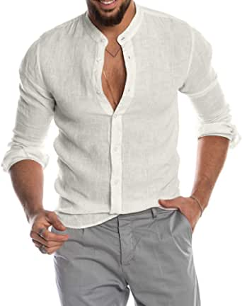 Yivise Camisa Casual de Manga Larga con Botones de la ...