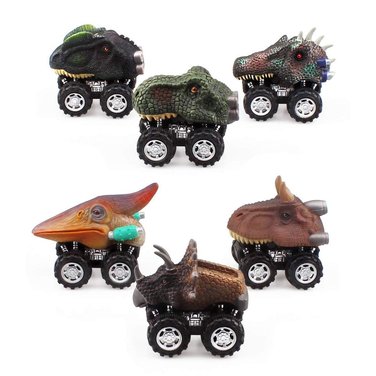 ZHMY Dinosaur Pull back car, 6 PACK 2.8in MINI Dinosaur Model Cars Gift Box 3-12 Year Old Boy and Girl Gifts