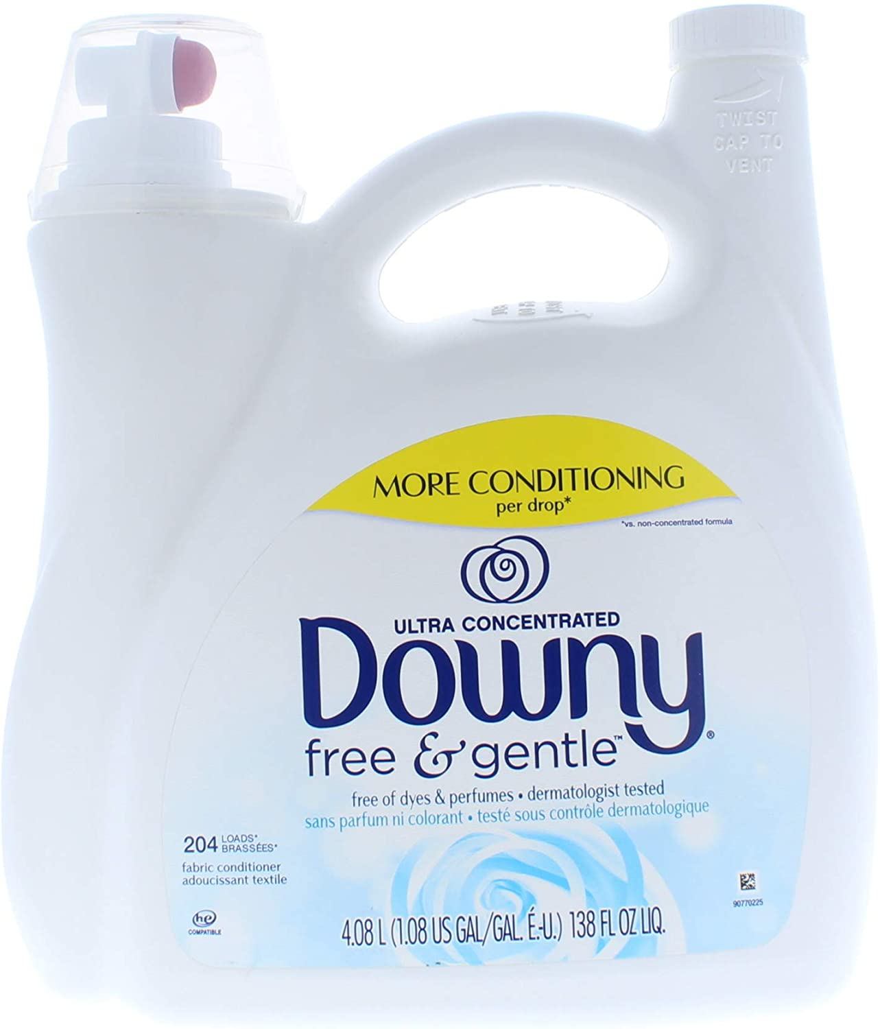 Downy Ultra Concentrated Fabric Softener Free and Gentle Liquid 138 Fl. Oz (204 Loads)