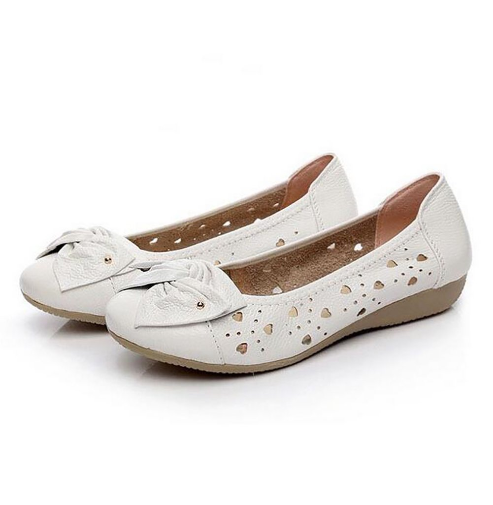 SHANGXIAN Damen Leder Schuhe Mokassins Beilauml;ufig Flache Bootsschuhe Einfach Gemuuml;tlich Atmungsaktiv Sandalen,White,US65(7)/EU37/UK45(5)/CN37  US65(7)/EU37/UK45(5)/CN37|White