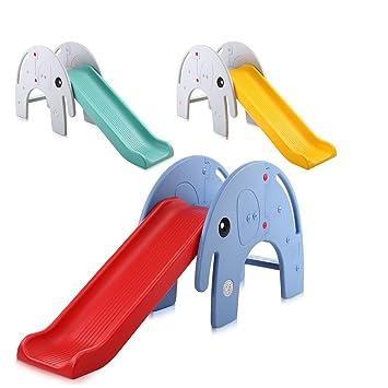 Baby Vivo Kinder Rutsche Gartenrutsche Kleinkinderrutsche Kunststoff  Elefant abgerundete Ecken & Kanten für Indoor & Outdoor in Rot/Blau