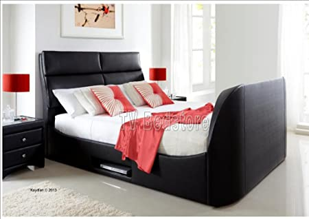 Super King Size Black Wynn Tv Bed Frame Only Amazon Co Uk