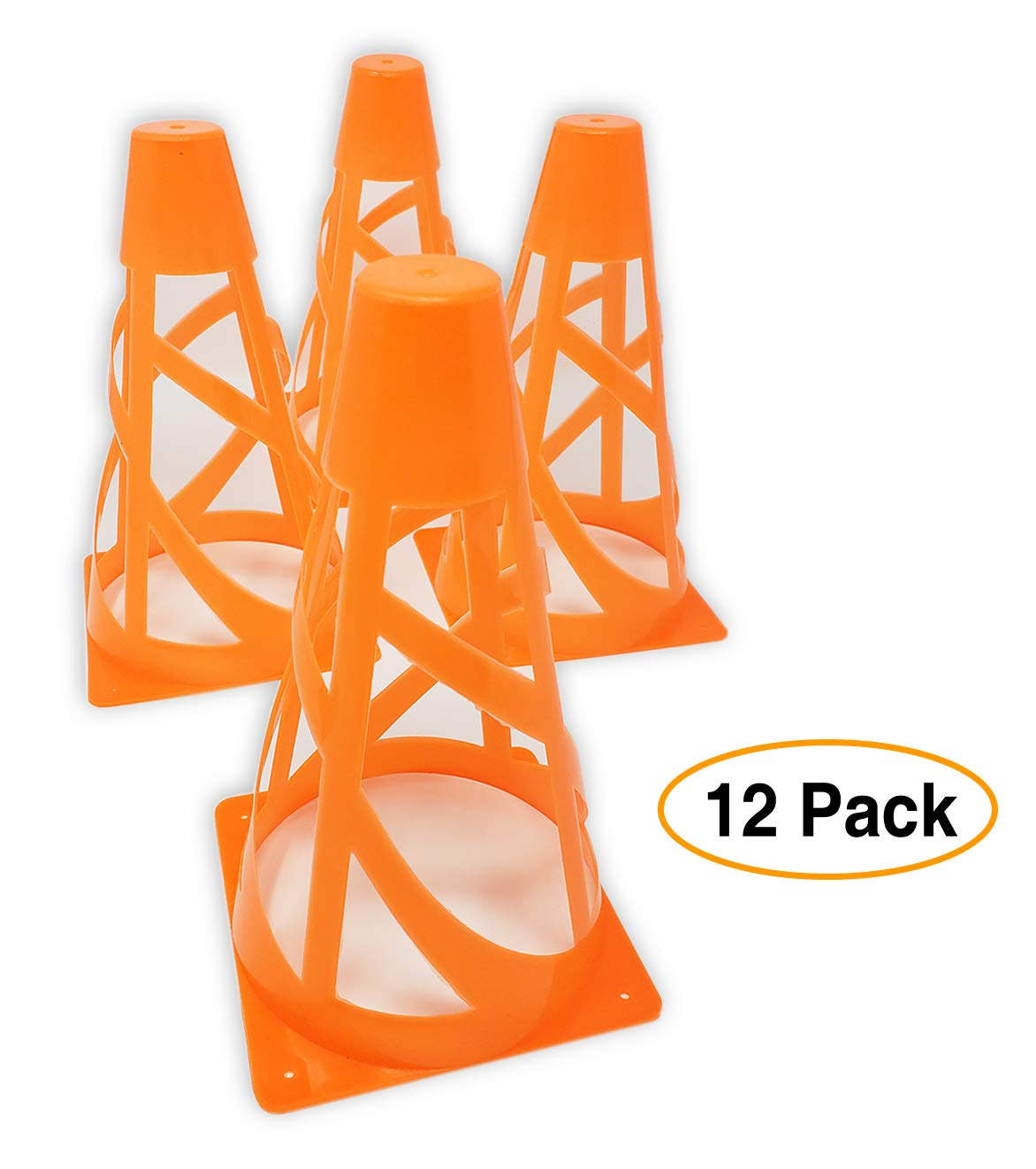 "Mini Orange Safety Cones, for Soccer Sports or Traffic. 7"" (12 Pack) Multipurpose for Gaming and Festive Events"