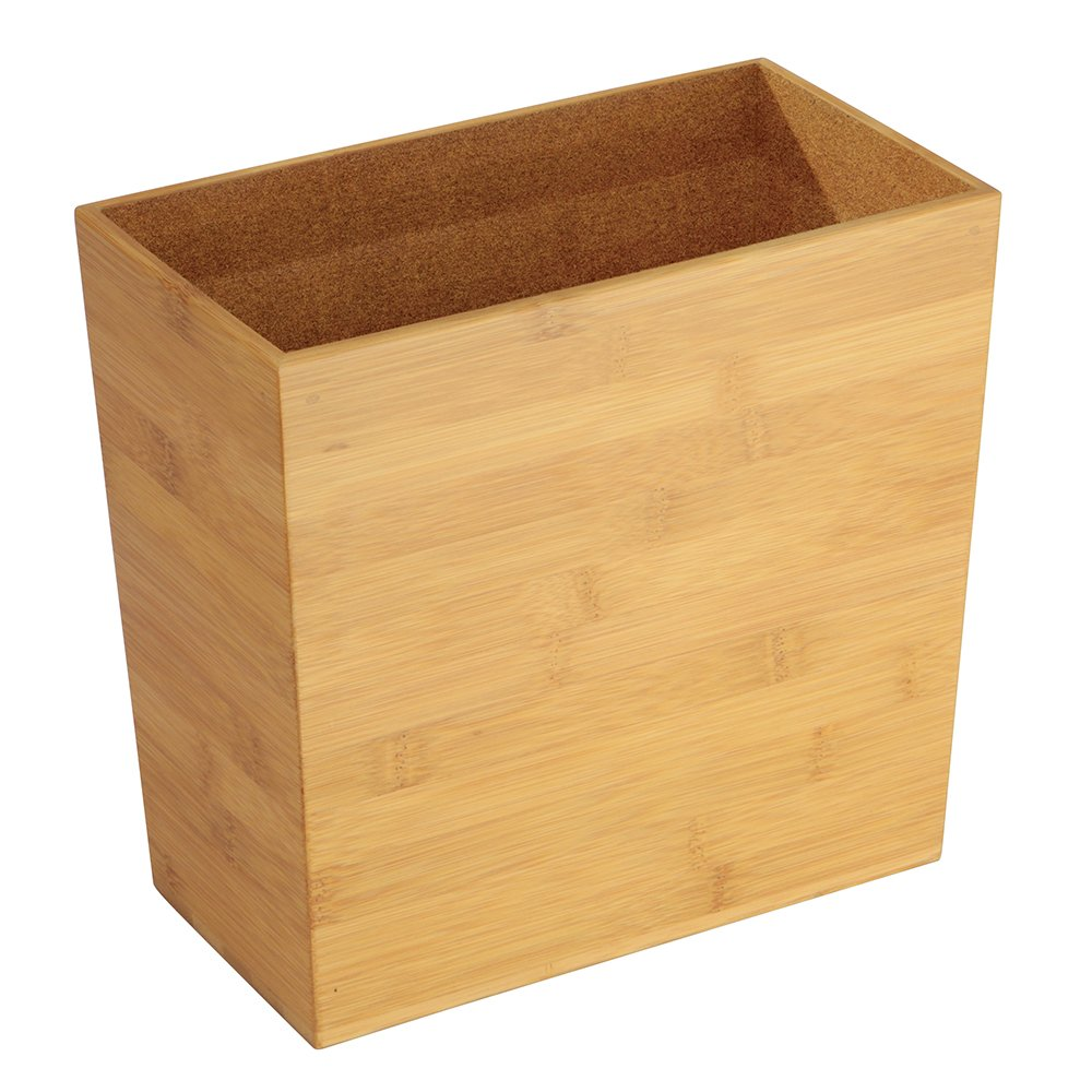 "InterDesign Formbu Wood Wastebasket, Small Square Trash Can for Bathroom, Bedroom, Dorm, College, Office 10.5"" x 5.75"" x 10"" Bamboo"
