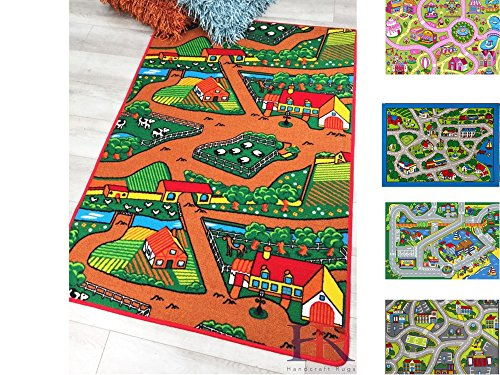 Handcraft Rugs Country Life Kids Rugs Non-Slip Brown and Multi / Educational Road Traffic Play Mat for Bedroom Play Room Game Safe Area Rugs-3 ft. by 5 - Country Road For Kids