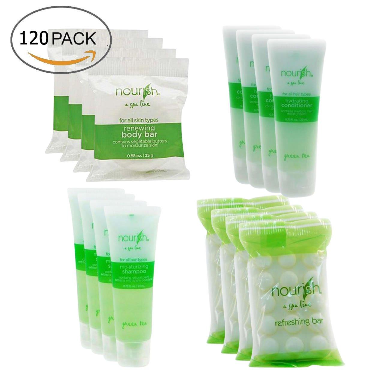 Nourish Spa Line Green Tea BNB Amenity Bath & Body Sets - Soap, Shampoo, Conditioner (30 SET - 120 Pieces Total)