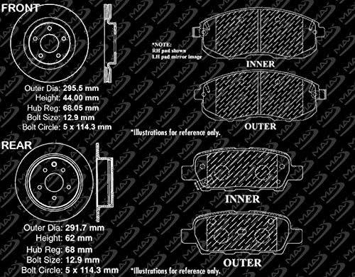Premium Slotted Drilled Rotors + Metallic Pads Max Brakes Front /& Rear Performance Brake Kit Fits: 2014 14 2015 15 Fit Nissan Juke Non Nismo RS TA084533
